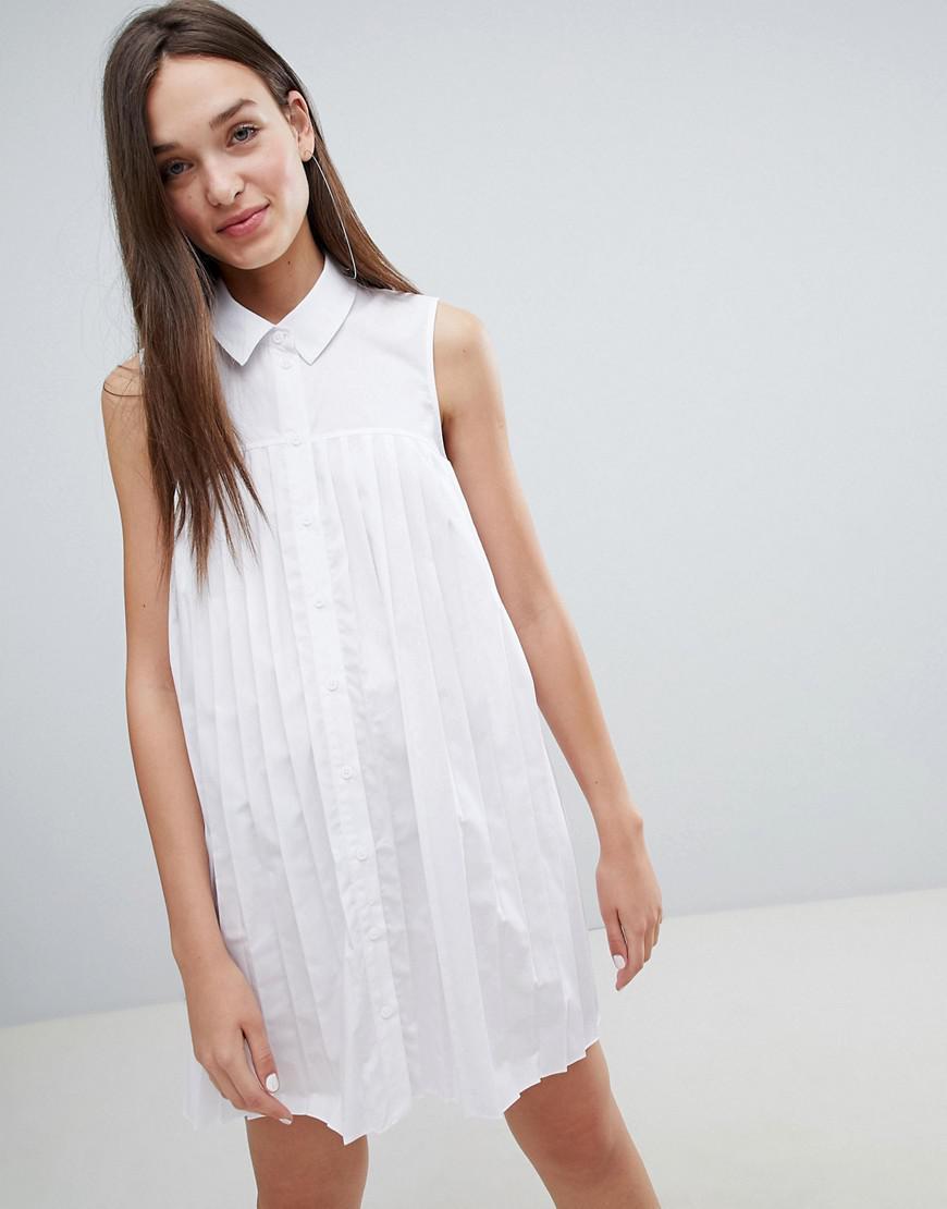 ec6a0d2546cf Lyst - ASOS Mini Cotton Pleated Swing Shirt Dress in White