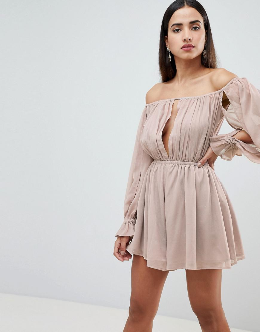 f93c07d9db6 Lyst - ASOS Off Shoulder Playsuit With Cut Out Detail in Natural