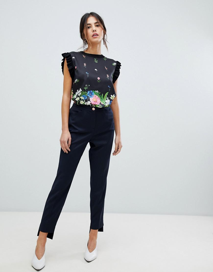 8bc865cda Lyst - Ted Baker Rivaat Skinny Pants With Stepped Hem in Blue