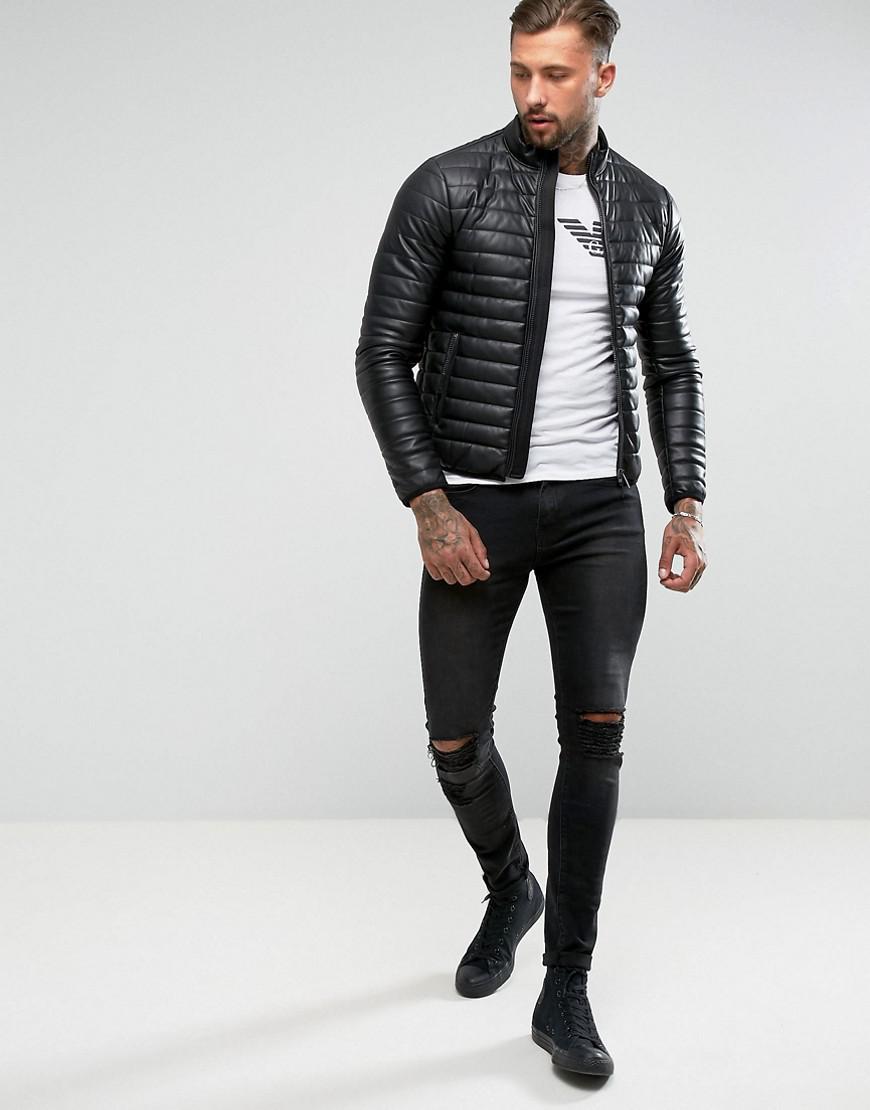 Armani Jeans Padded Faux Leather Biker Jacket Black in Black for Men ... 641271d9b8e