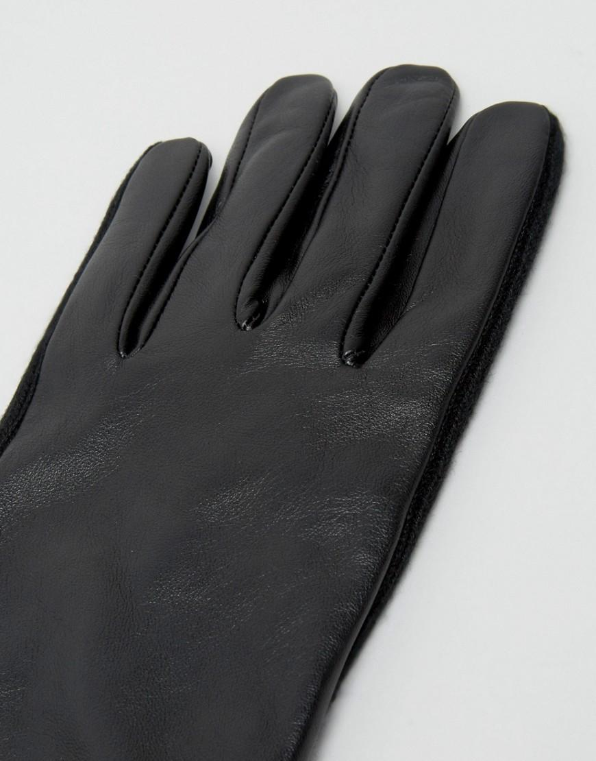 Black leather gloves asos - Asos Leather Gloves With Ribbed Cuff In Black Lyst View Fullscreen