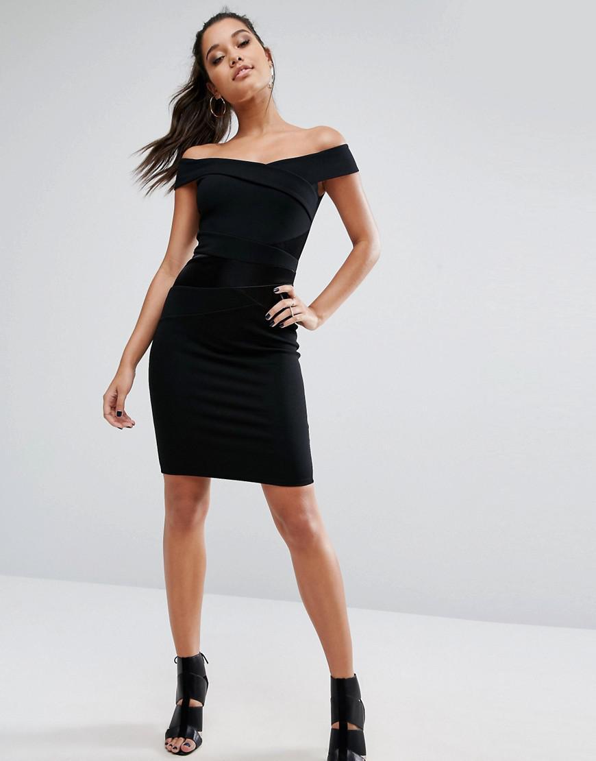 d4aac1659ecc Lipsy Michelle Keegan Loves Bardot Dress With Satin Panel in Black ...