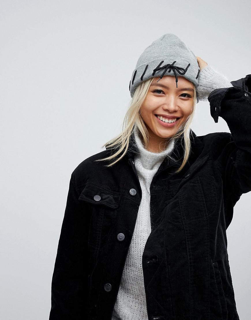 Lace Through Beanie Hat - Grey black Urban Code xv2KL3v