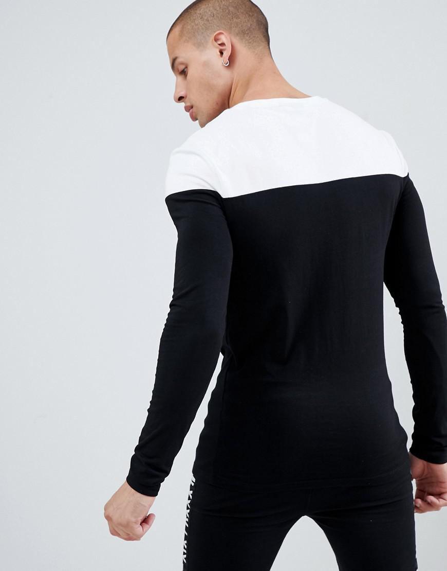 50567c67f ASOS Muscle Fit Long Sleeve T-shirt With Contrast Yoke In Black in Black  for Men - Lyst