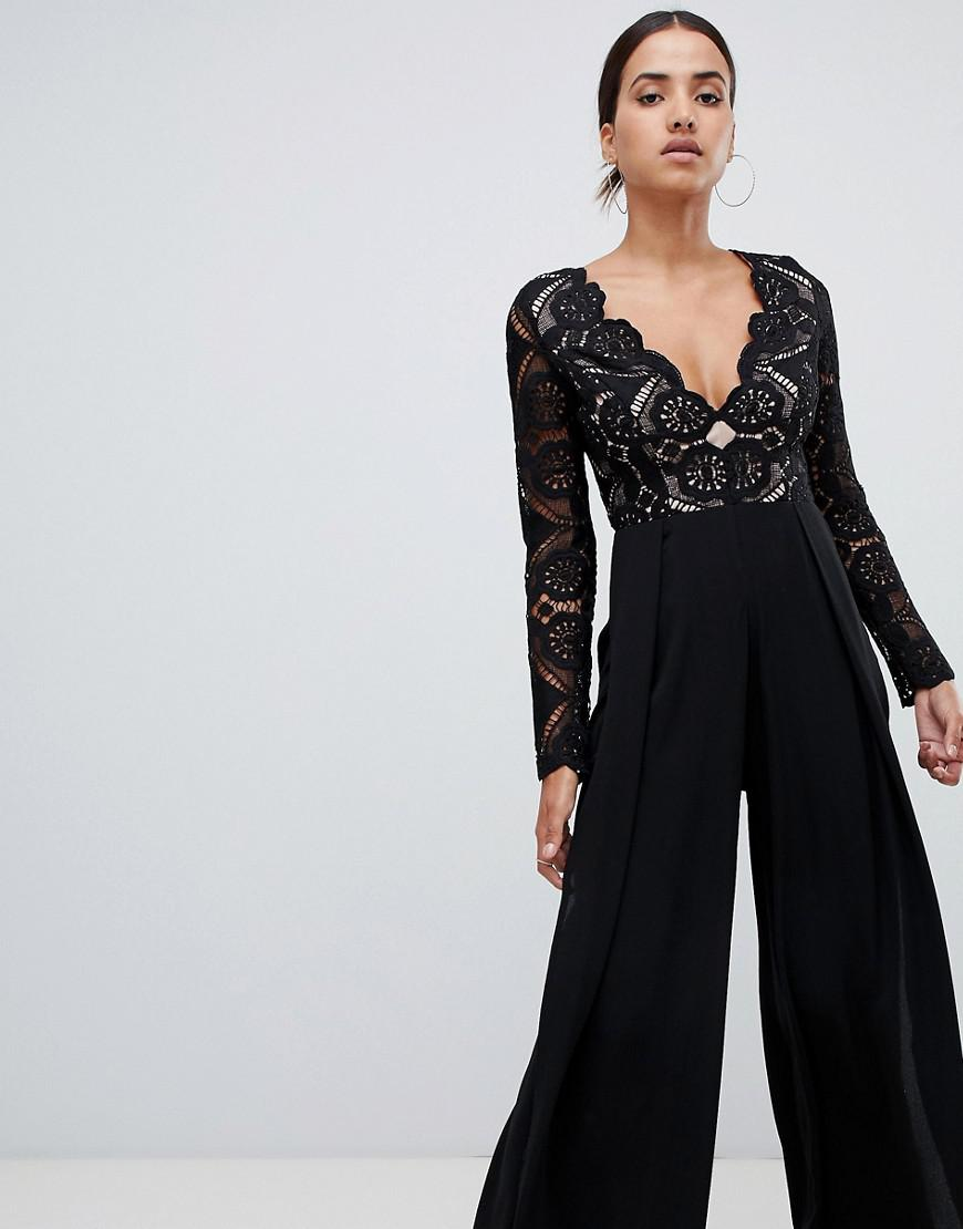 bcc3a5dd1c98 Love Triangle. Women s All Over Cut Work Lace Top Wide Leg Split Jumpsuit  In Black