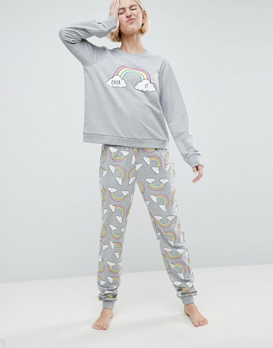 Cheap Clearance Store Clearance Excellent LOUNGE Over It Rainbow Print Jogger - Grey Asos Sale Low Price Hot zFpCQK0DR