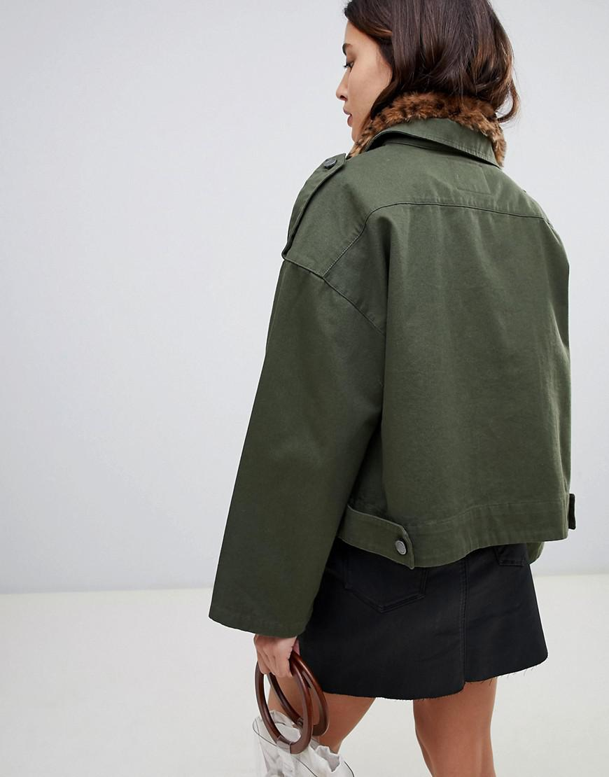 47162d5517e481 Blank NYC Utility Jacket With Leopard Print Collar in Green - Lyst