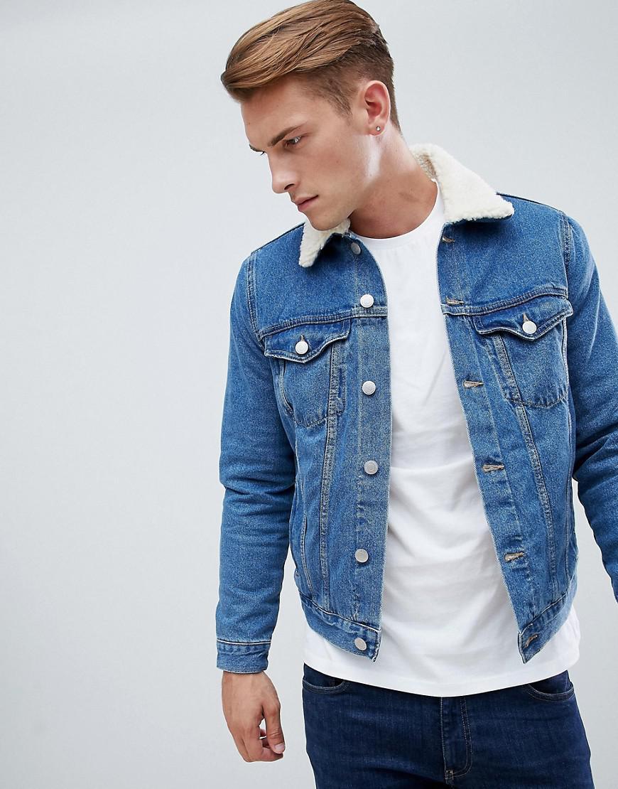 bc4914d1b58 Lyst - New Look Fleece Lined Denim Jacket In Blue in Blue for Men