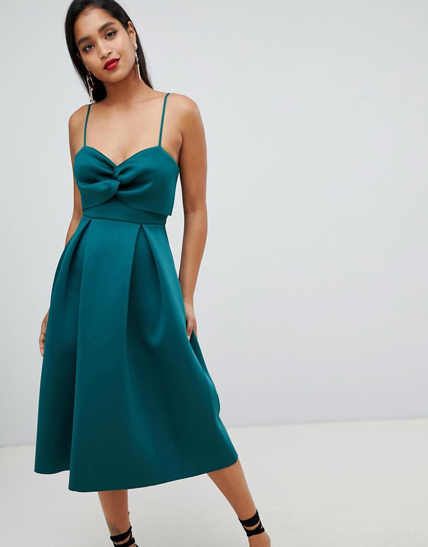 88e18d39868a ASOS Crop Top Midi Prom Dress With Twist Detail in Green - Lyst