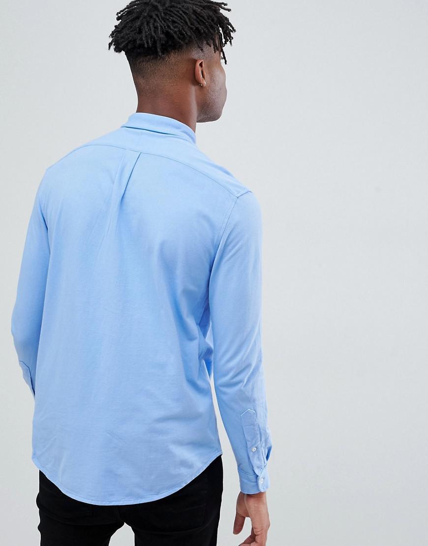 30c85a7249cf Polo Ralph Lauren Slim Fit Pique Shirt Player Logo Button Down In Light Blue  in Blue for Men - Lyst