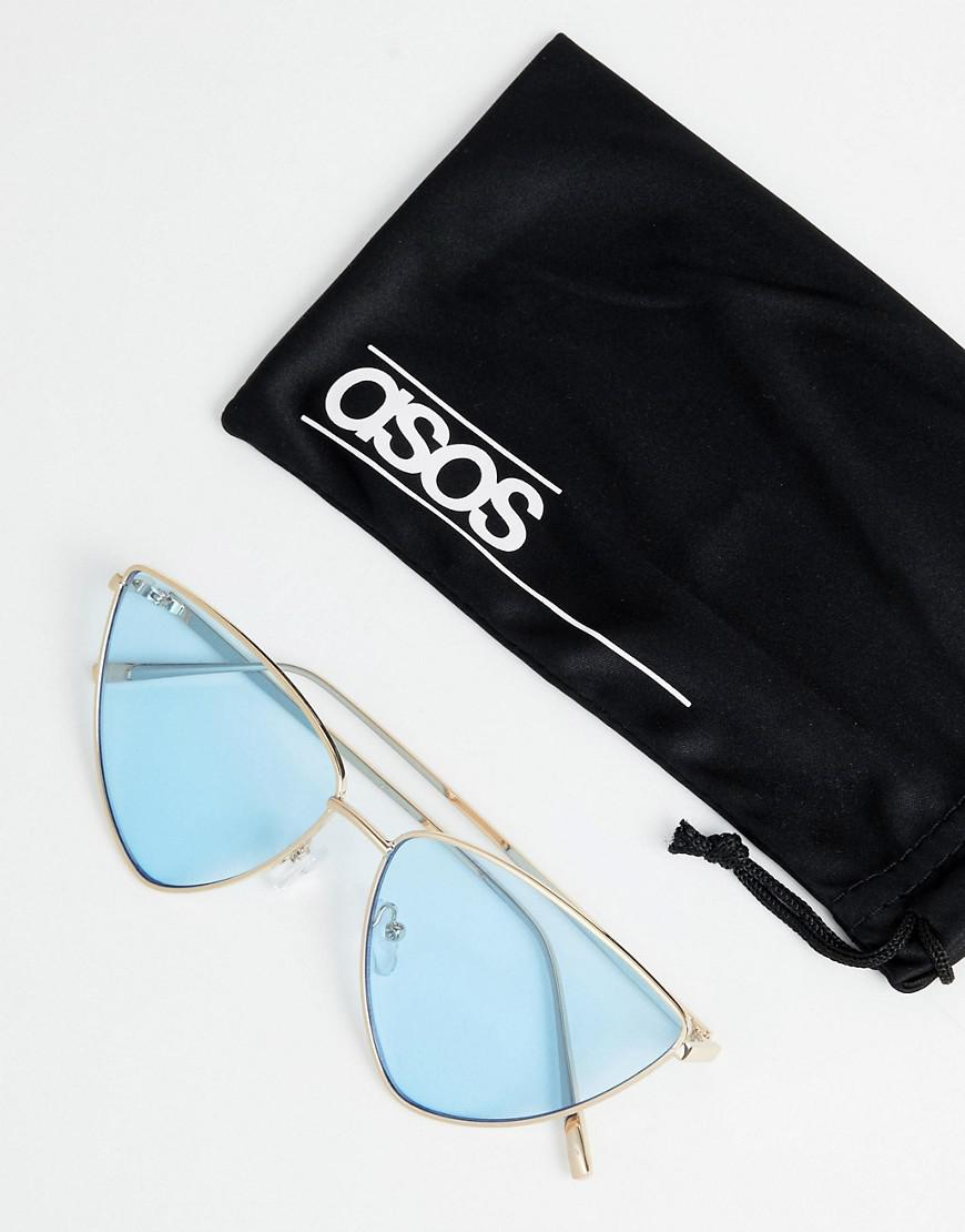 e497557efe52 Lyst - ASOS Extreme Almond Cat Eye Sunglasses With Blue Lens in Metallic