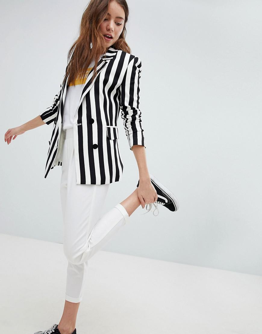 71ca39f277a7a Khaki Bold Stripe Tie Waist Blouse
