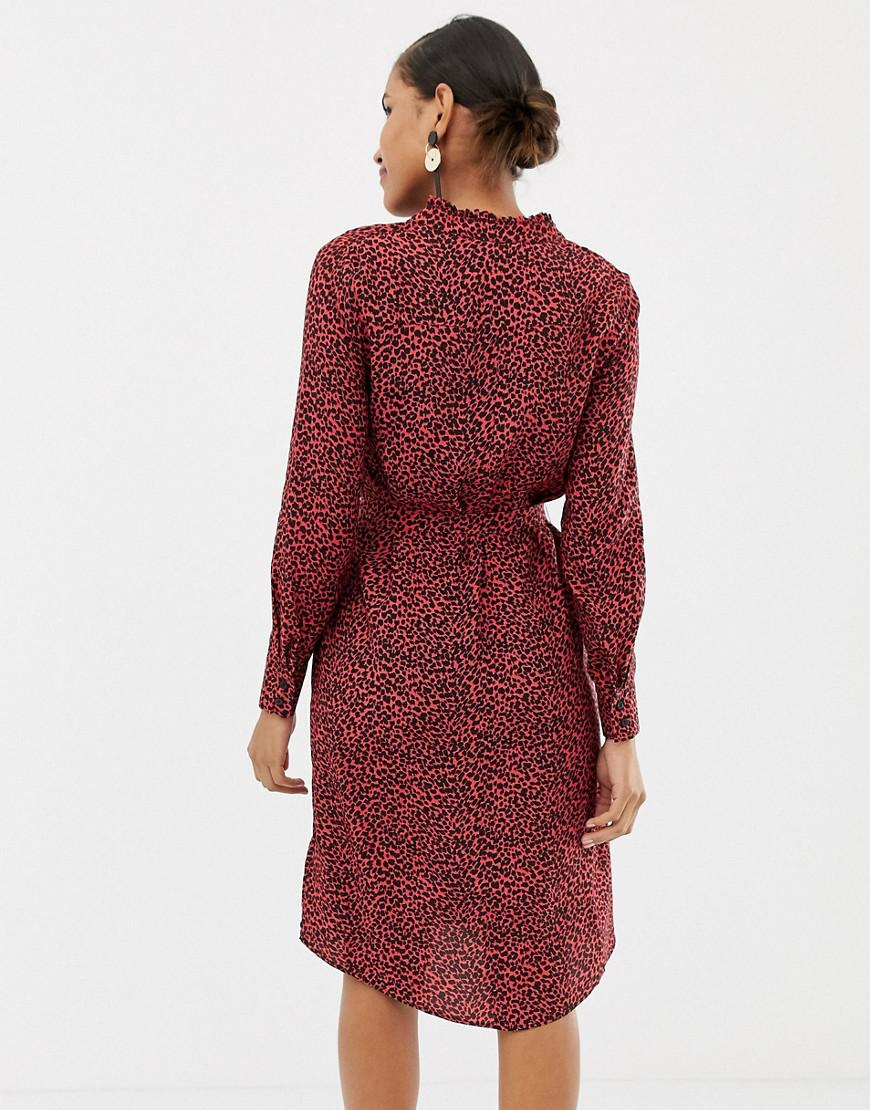 3301dc0e43 Lyst - Oasis Shirt Dress With Tie Waist In Red Animal Print in Red - Save  47%