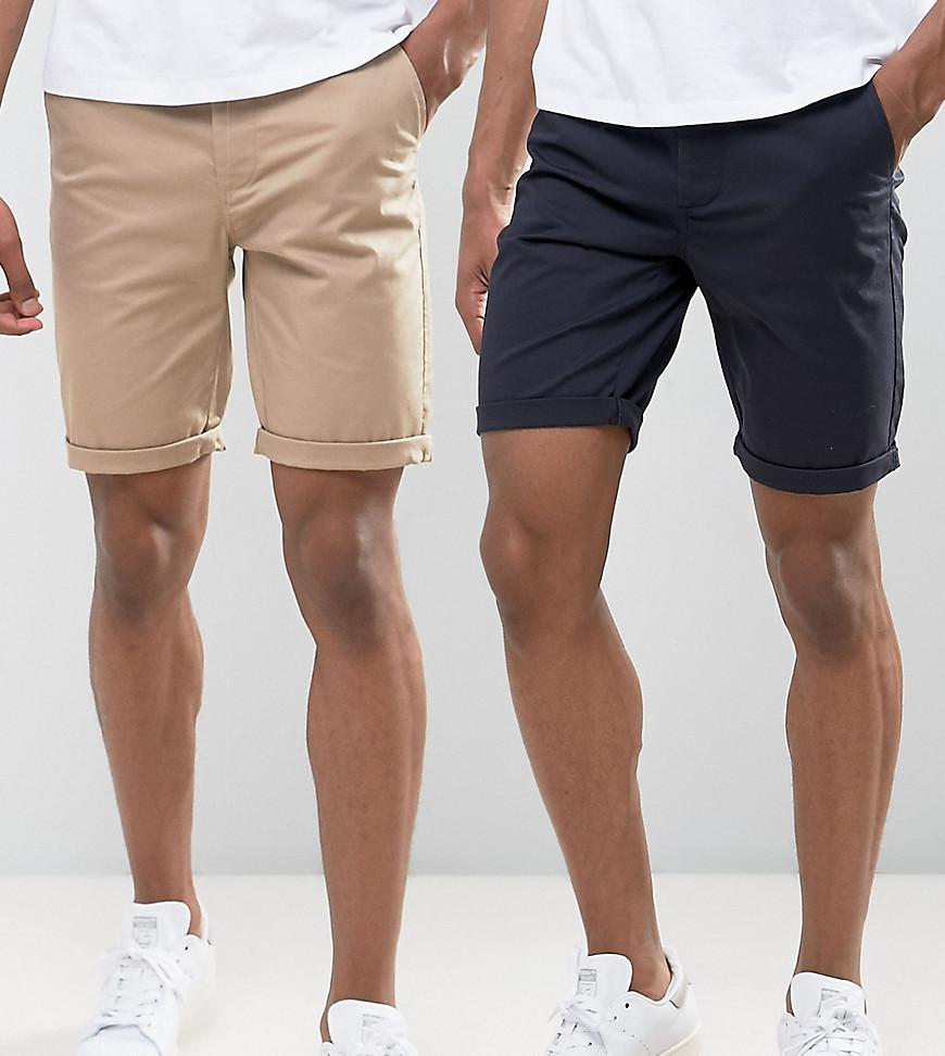2 Pack Slim Chino Shorts In Stone & Navy Save - Stone/navy Asos Outlet Recommend Top Quality Online Cheap Wholesale Cheap Popular Countdown Package For Sale nSsKoG83rl