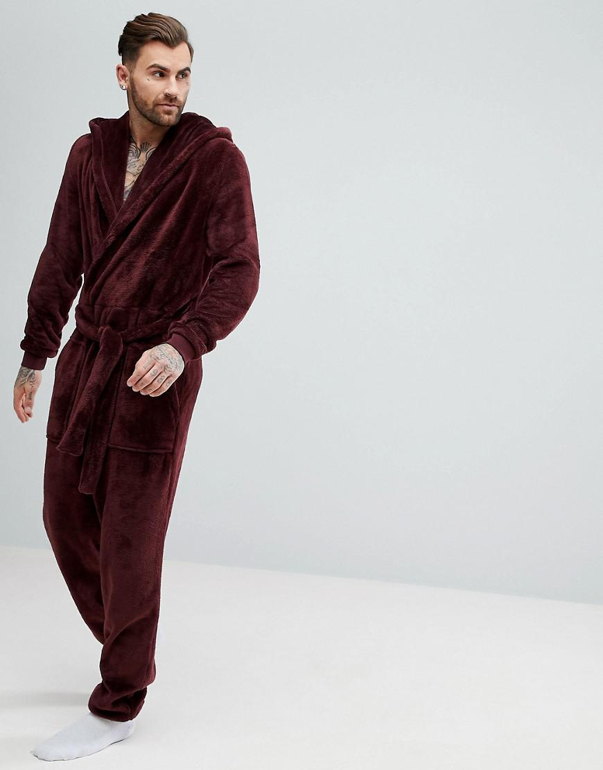 0cf1aa7cf6 Lyst - ASOS Asos Dressing Gown Onesie In Fleece in Red for Men