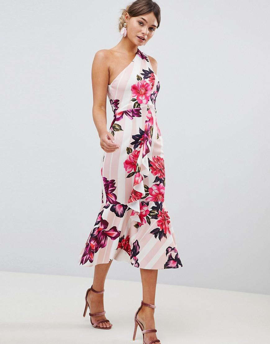 0109210a71 ASOS One Shoulder Midi Dress With Floral And Stripe Print - Lyst