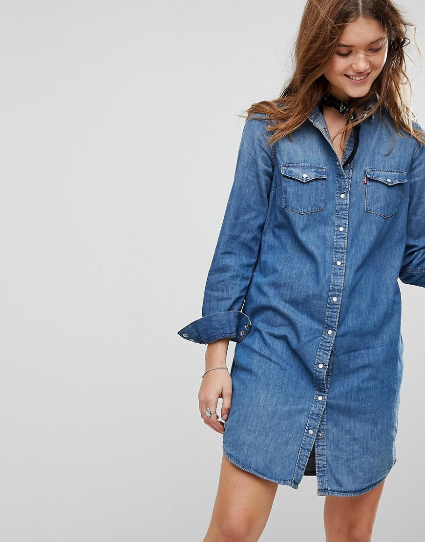 c7434df57e9 Levi s Levi s Iconic Western Denim Dress in Blue - Lyst