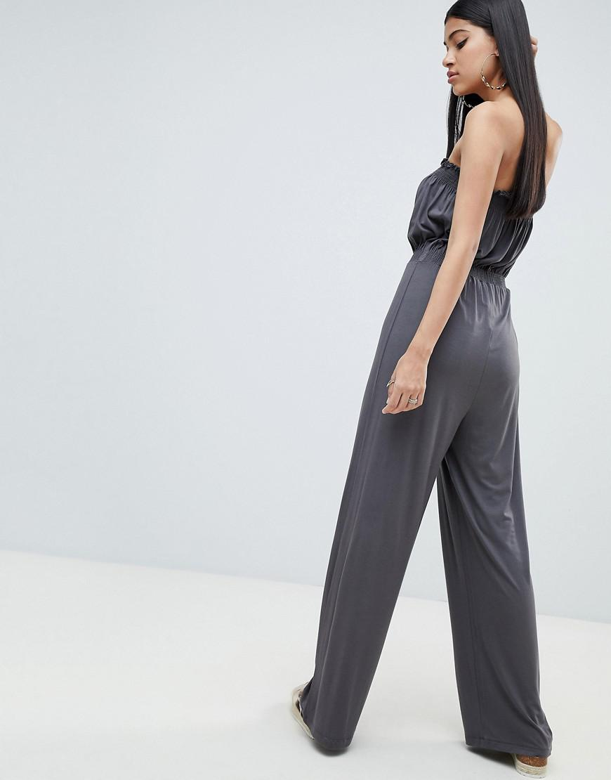 f4bba9c0537 ASOS Bandeau Jersey Jumpsuit With Wide Leg in Gray - Lyst