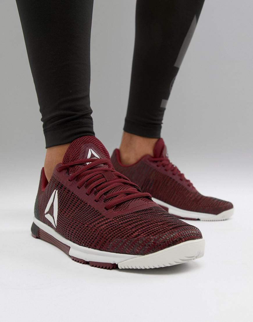 Reebok Training Speed Tr Flexweave Trainers In Burgundy Cn5502 in ... f7a5ec744
