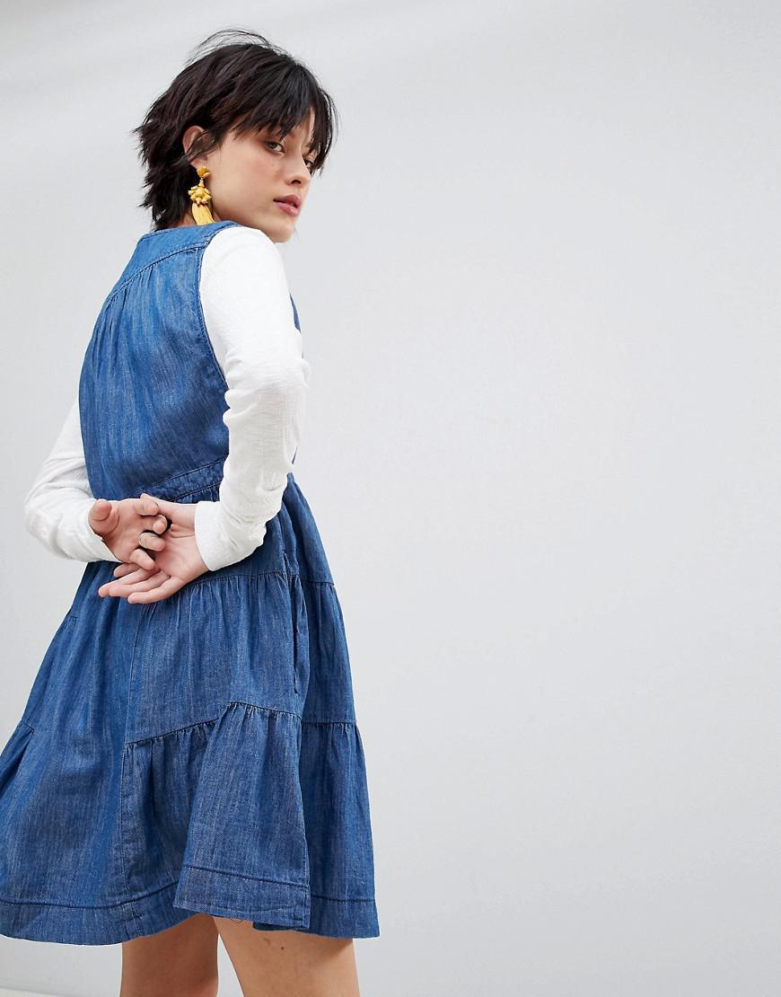 25bda7775285 Free People Esme Denim Mini Dress in Blue - Lyst