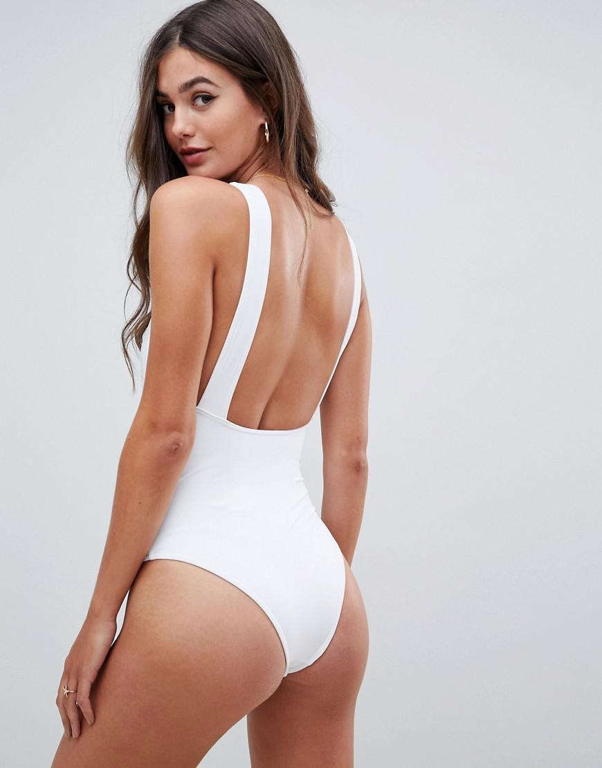 b72247314b4de Lyst - ASOS Asos Design Tall Recycled Plunge Ruched Front Swimsuit in White