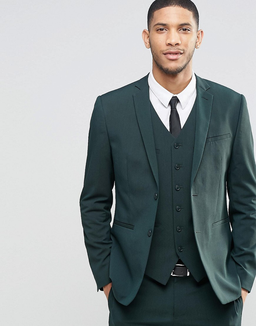 Asos Slim Suit Jacket With Stretch In Dark Green In Green