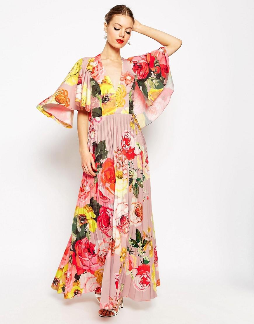 Asos wedding embellished floral drape back pencil midi dress - Gallery