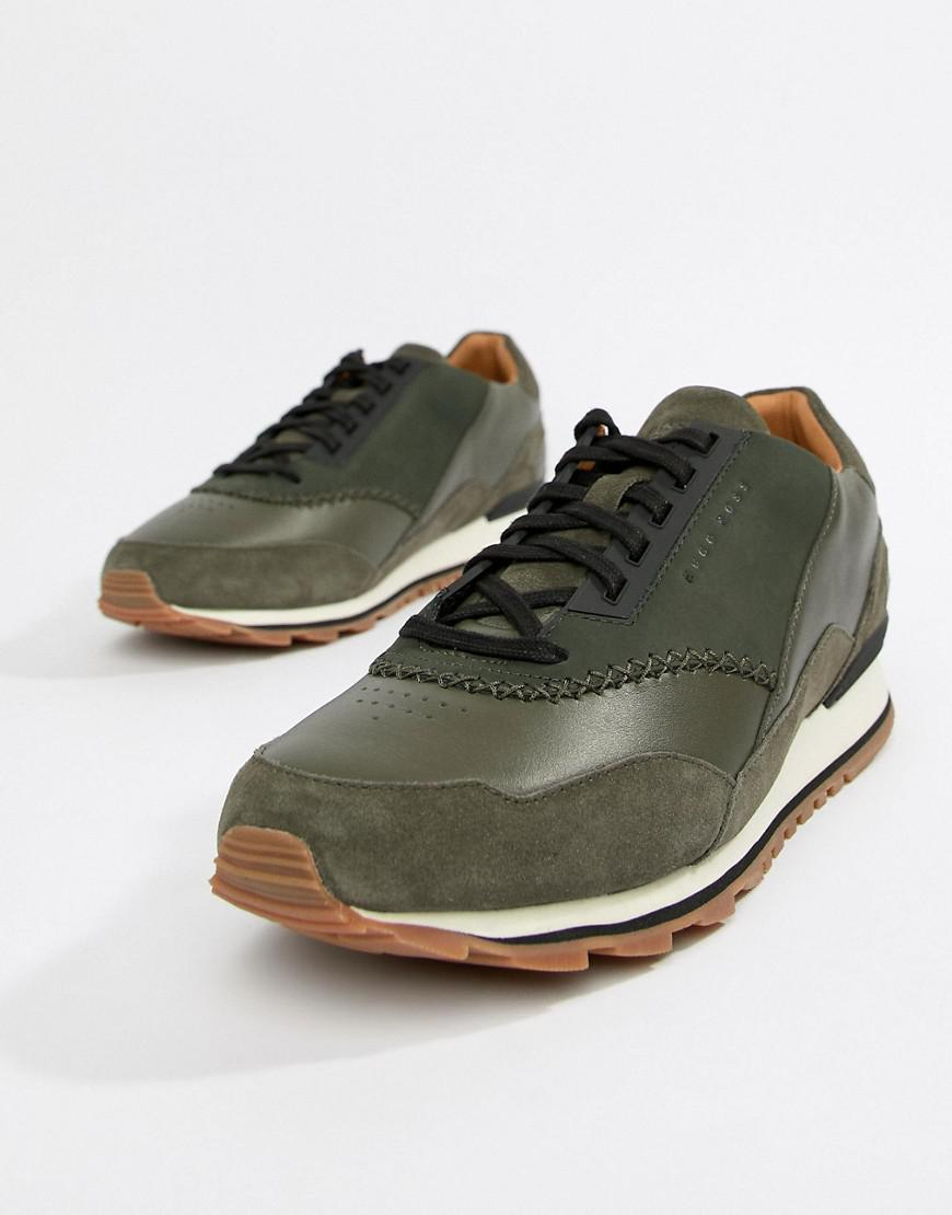 BOSS Zephir Leather Trainer in Khaki factory outlet discount wholesale P7TIG