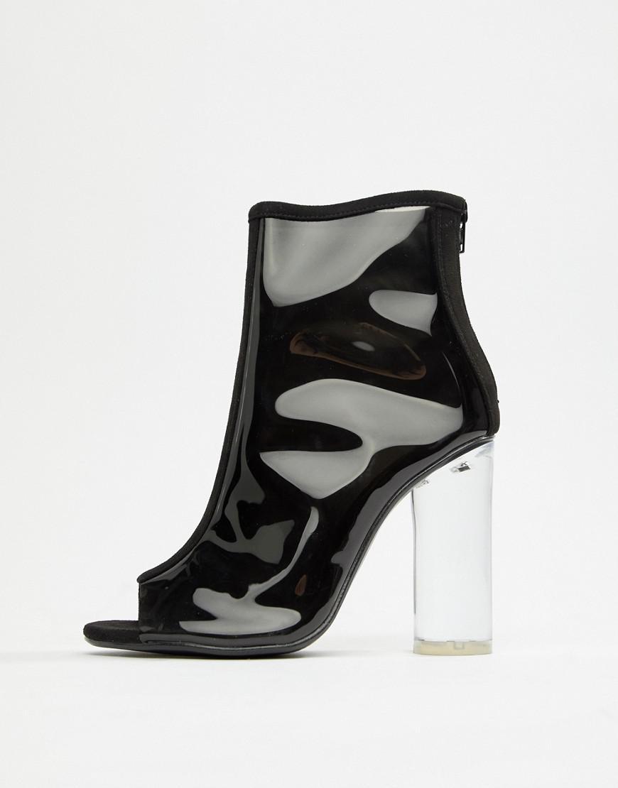 4ea58504dc01 Public Desire Woke Smoke Clear Detail Heeled Ankle Boots in Black - Lyst