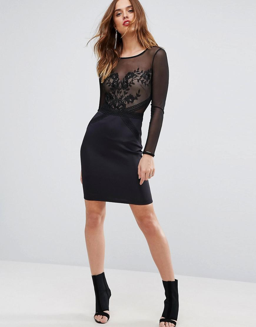 f32b292b8ce4 Lipsy Mesh Long Sleeve Embroidered Bodycon Dress in Black - Lyst