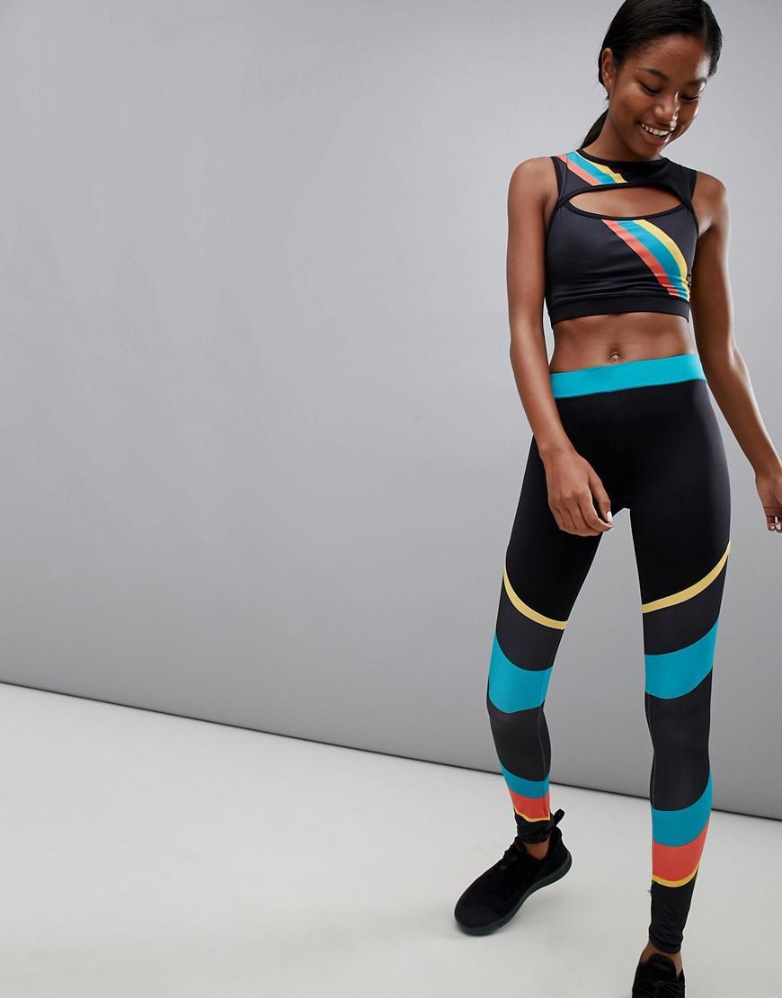 20ecb3aa16 South Beach - Multicolor Rainbow Stripe Gym Leggings - Lyst. View fullscreen
