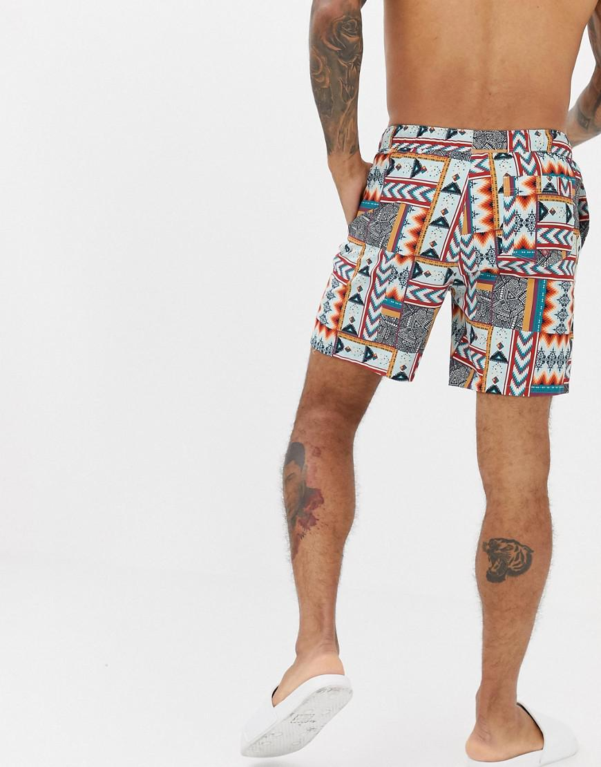 90cae20a59 Lyst - ASOS Swim Shorts With Patchwork Aztec Print In Mid Length in White  for Men