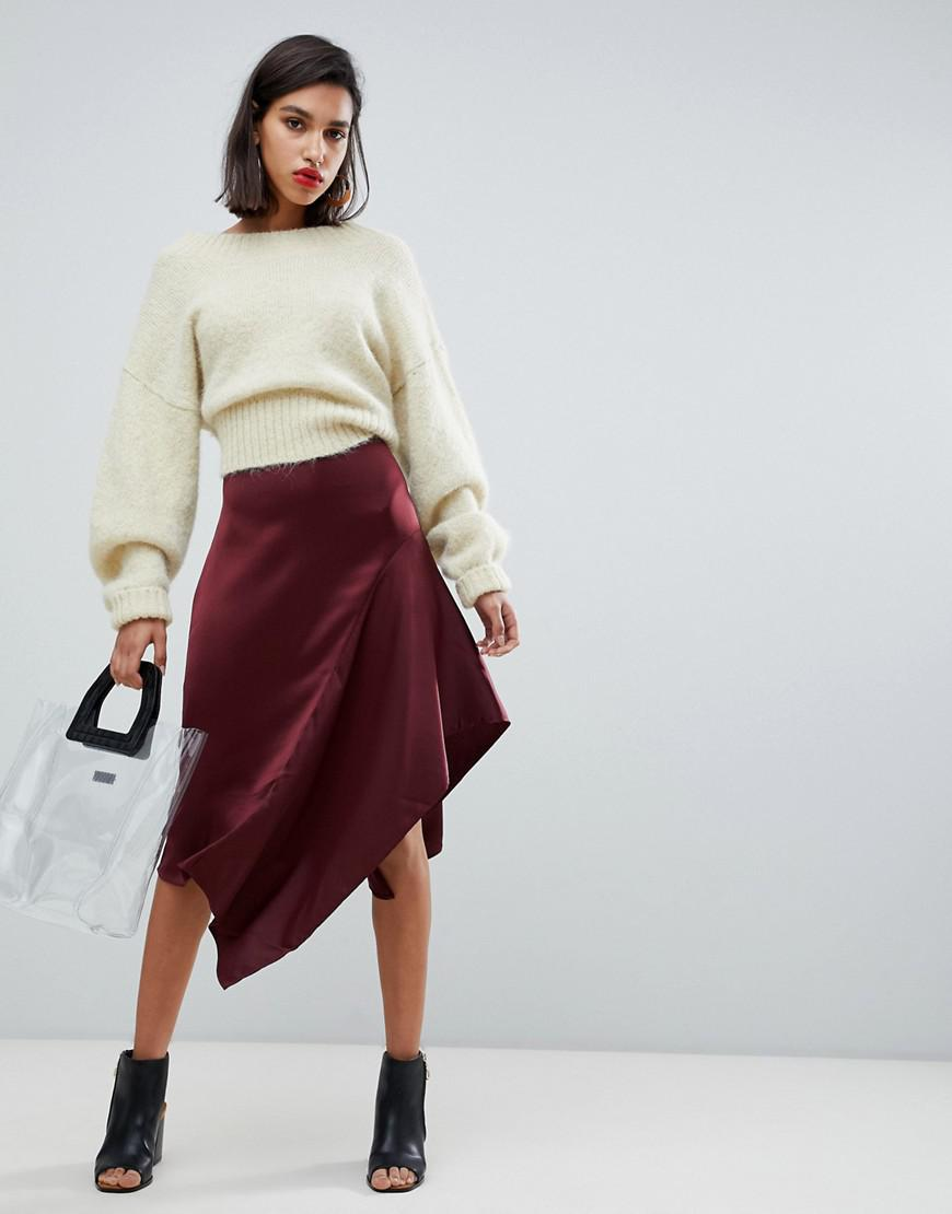 a904083de Y.A.S Satin Asymetric Hem Skirt in Red - Lyst