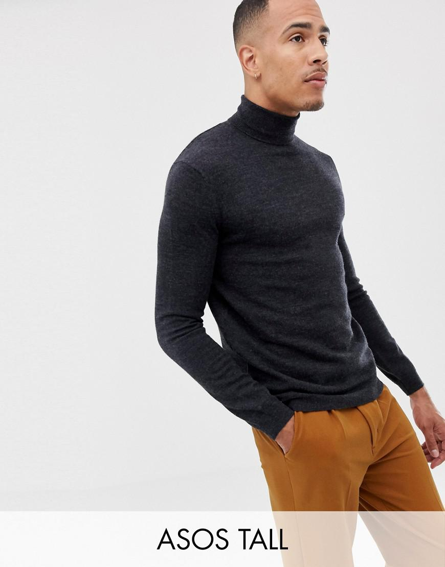 151b2e69 Lyst - ASOS Tall Merino Wool Roll Neck Sweater In Charcoal in Gray ...