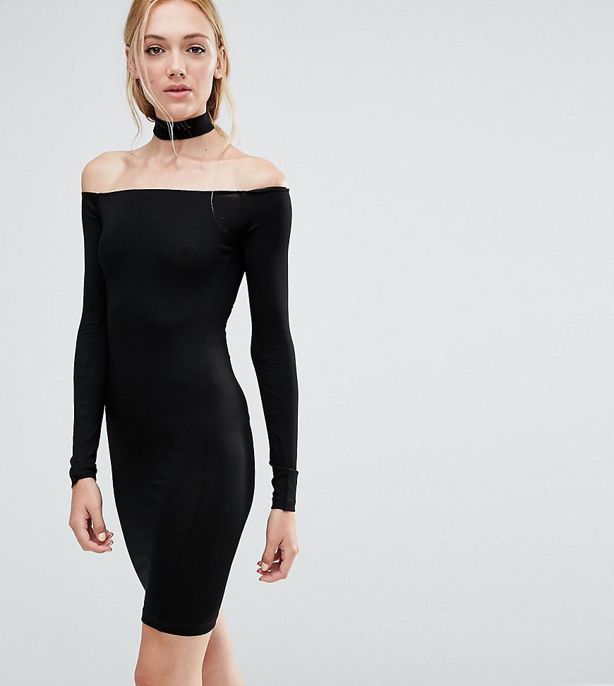c709892d7f55 ASOS Long Sleeve Off The Shoulder Bardot Mini Bodycon Dress With ...