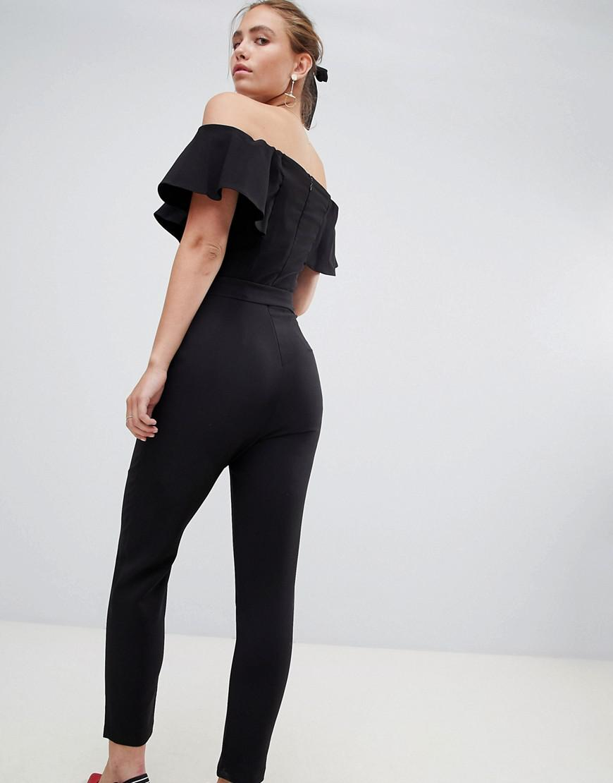 839e8389122 Lyst - Miss Selfridge Bardot Jumpsuit With Tie Waist in Black