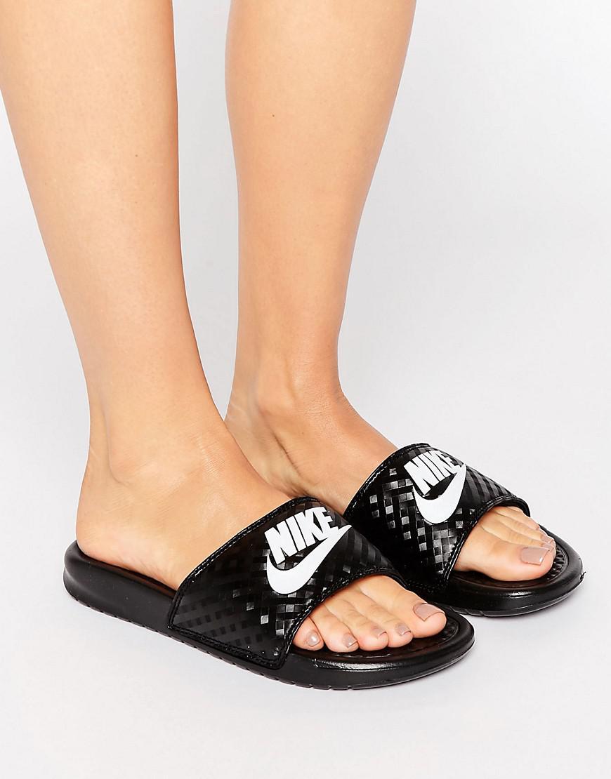 Nike. Women's Benassi Logo Sliders In Black