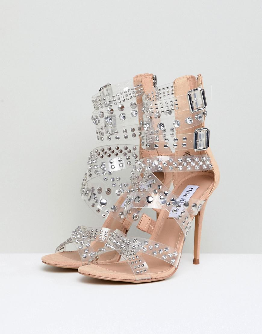 a95b1503a16b Lyst - Steve Madden Moto Embellished Strappy Heeled Sandals in Natural