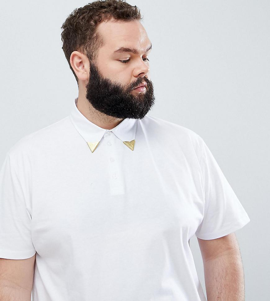 99ae7d4b ASOS. Men's Plus Relaxed Polo Shirt With Western Collar Tips In White
