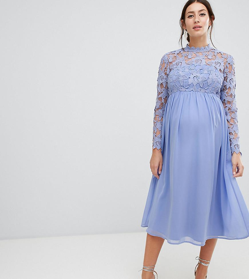 85a58db267 Lyst - Chi Chi London High Neck Midi Skater Dress With Lace Sleeves ...