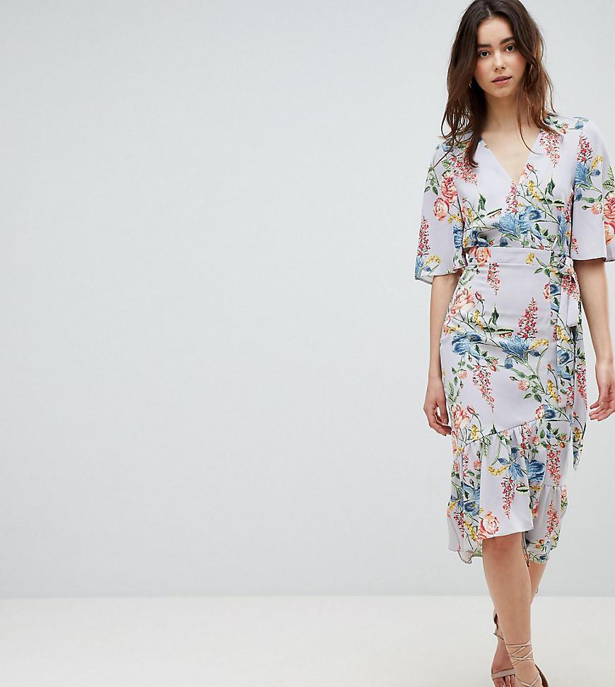 7cecbfb376f Floral Print Kimono Sleeve Wrap Midi Dress - Data Dynamic AG