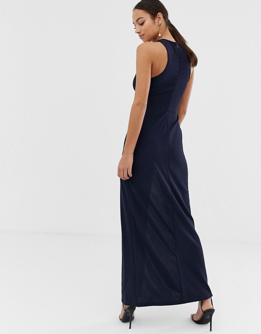 cb0c5a327c Navy Crochet Top Maxi Dress With Thigh High Split Ax Paris
