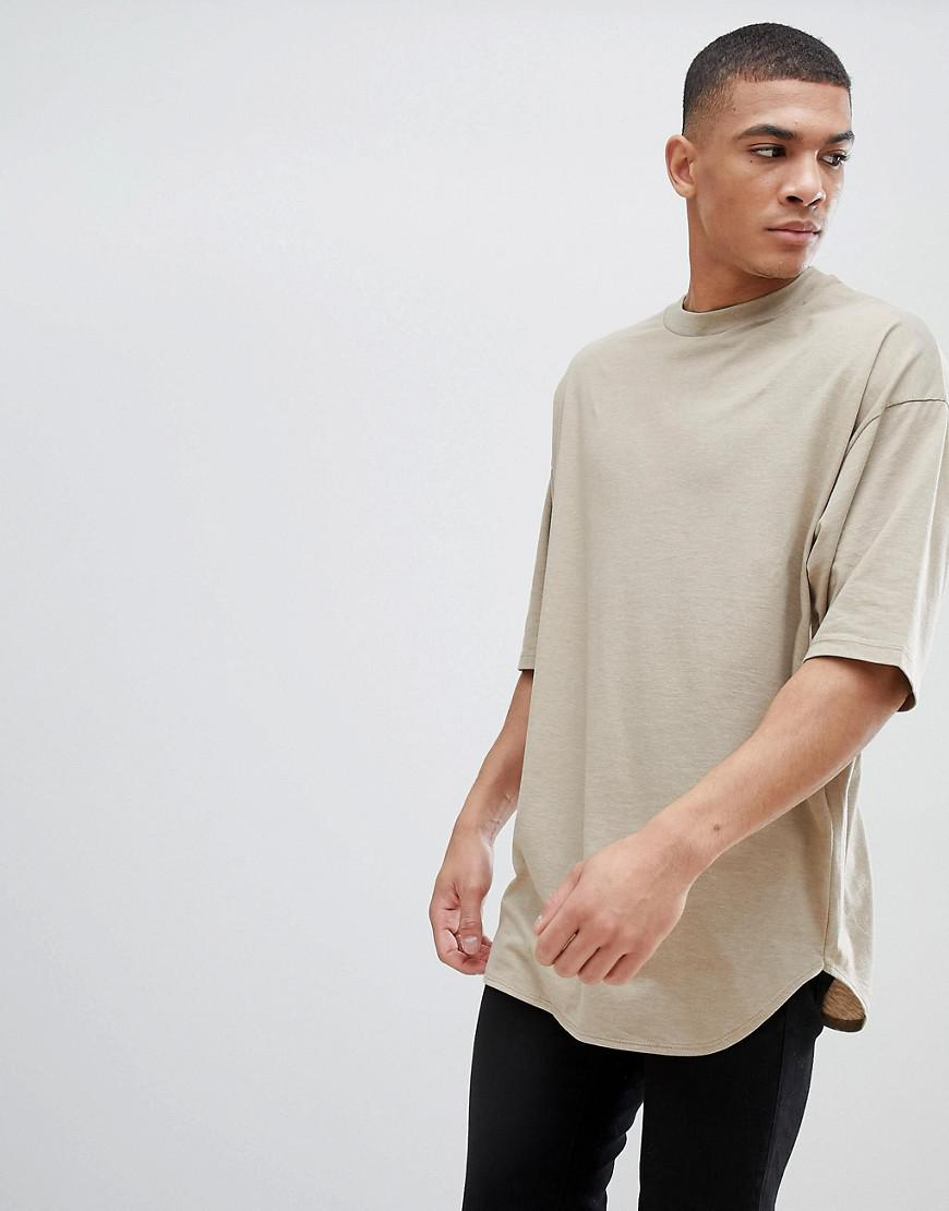 Asos design oversized longline t shirt with deep curved for Asos design free t shirt