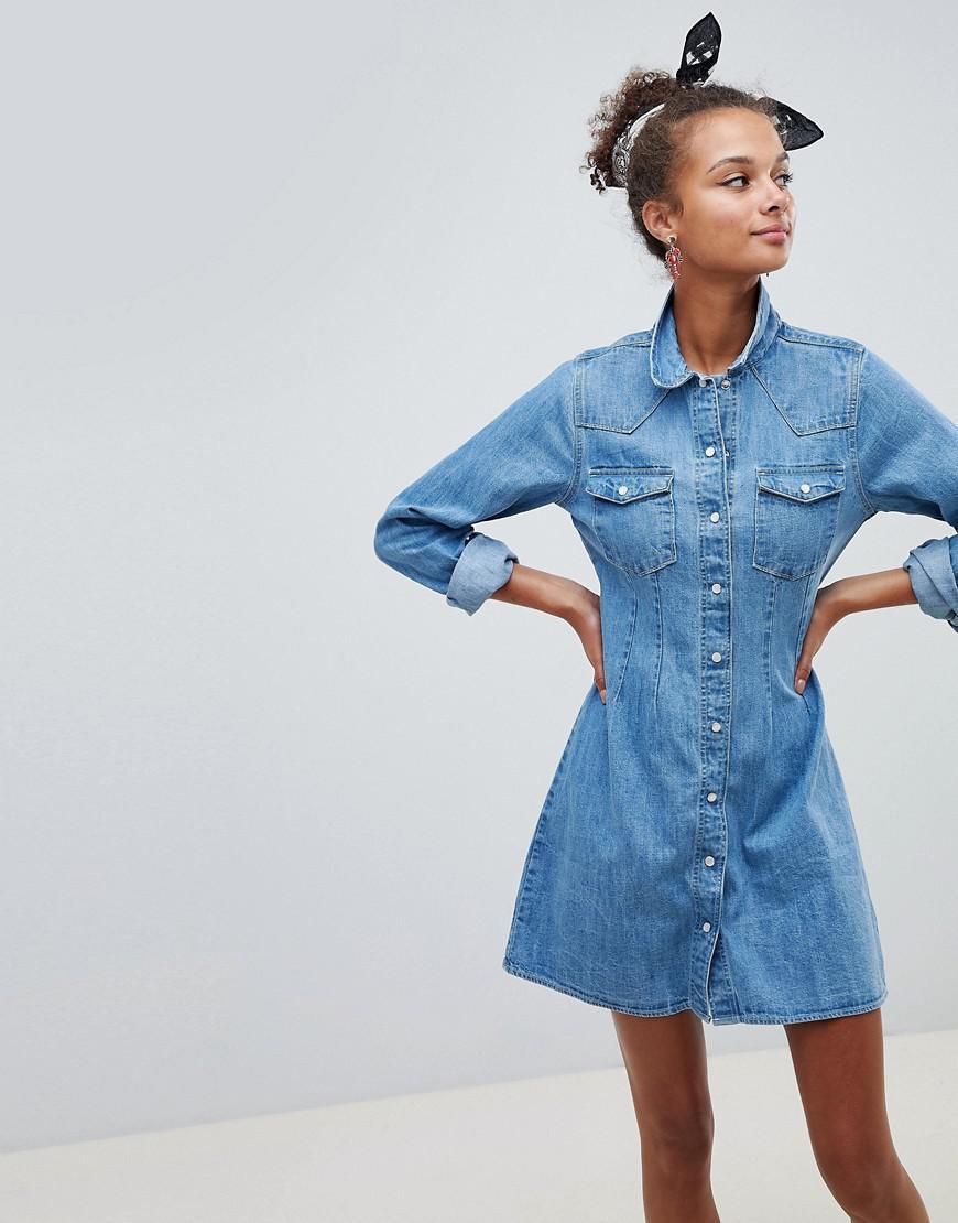 3c4c50cf ASOS. Women's Denim Fitted Western Shirt Dress With Seam Detail In Midwash  Blue