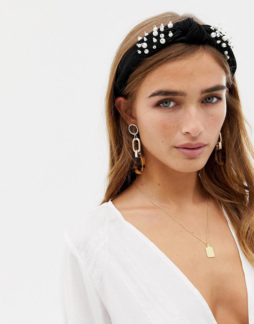 New Look Pearl Knot Aliceband In Black in Black - Lyst 8864e3b4030