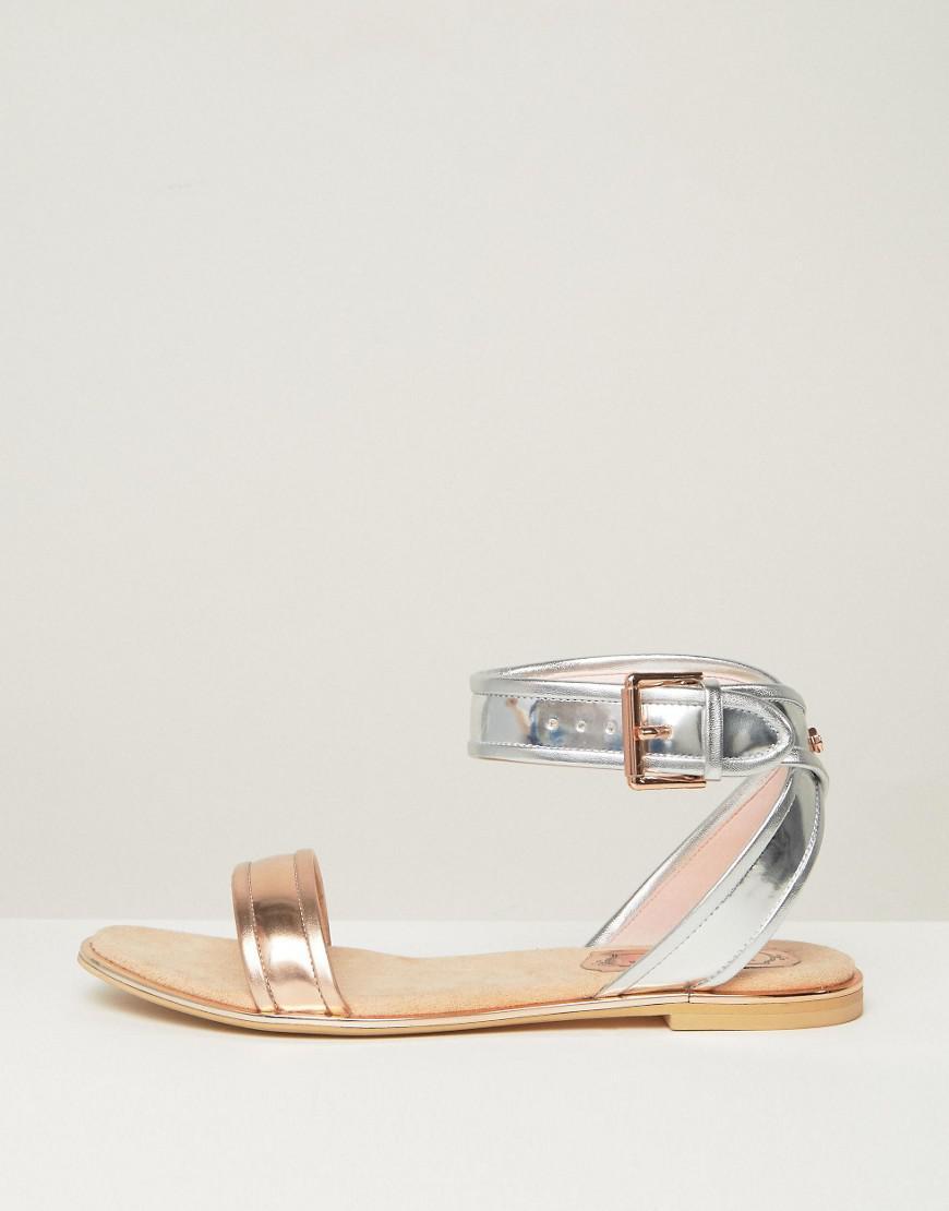 63829fc7b39a5 Lyst - Ted Baker Alella Metallic Flat Sandals in Metallic
