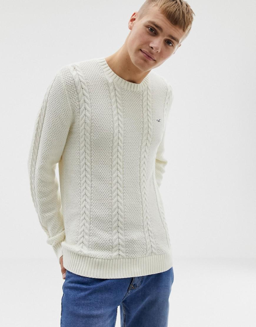 706480d7e83 Lyst - Hollister Icon Logo Cable Knit Jumper In Cream in Natural for Men