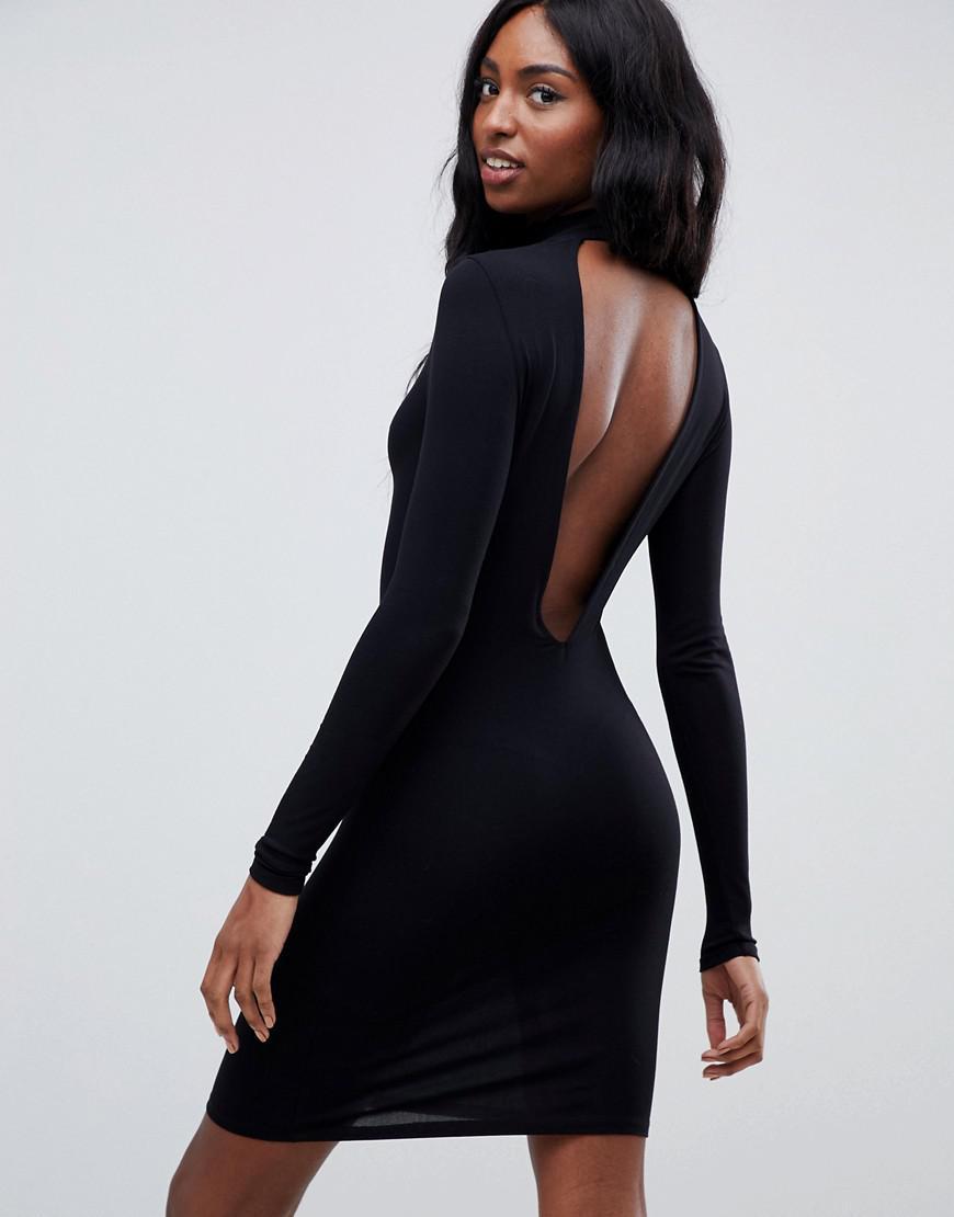 dabb66bb9e ASOS Asos Design Tall Deep Plunge Mini Bodycon Dress in Black - Lyst