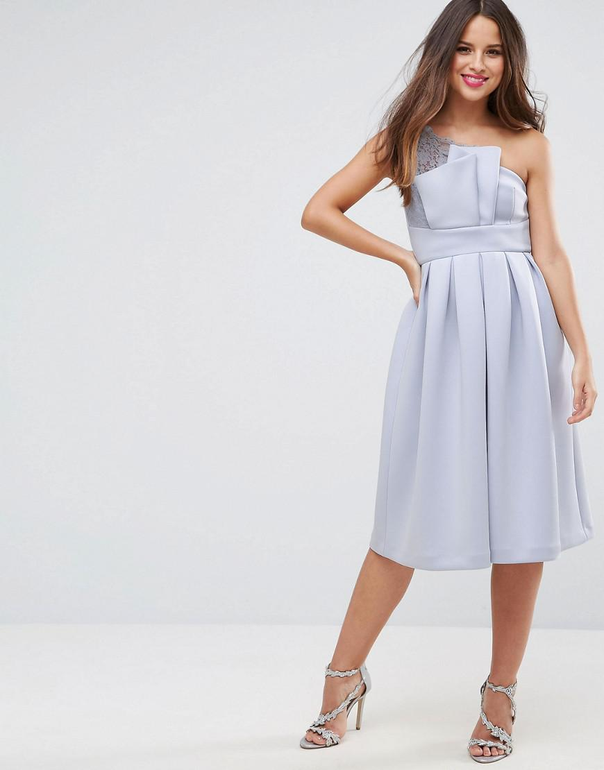 PREMIUM Crystal Bodice Tulle One Shoulder Midi Prom Dress - Grey Asos MxhAz9qlQ