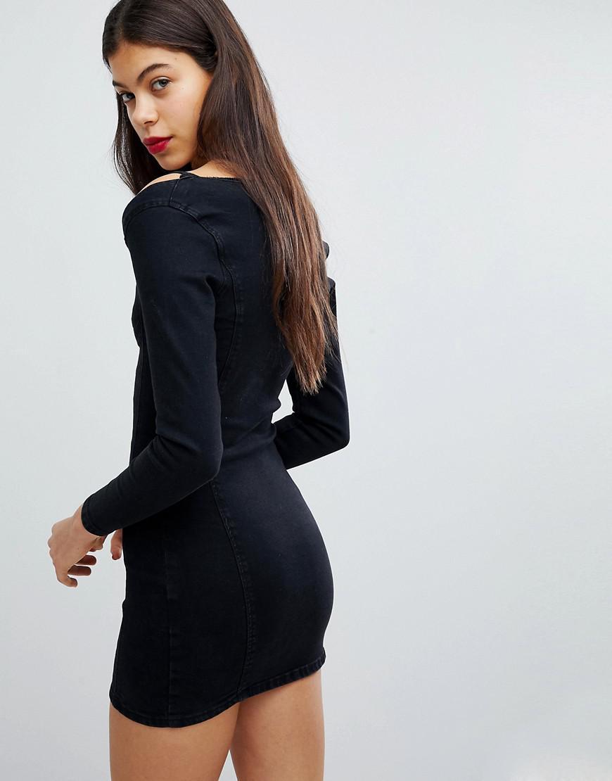76aaa703b377 Liquor N Poker Denim Bralette Detail Dress in Black - Lyst